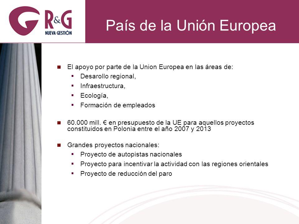 País de la Unión Europea El apoyo por parte de la Union Europea en las áreas de: Desarollo regional, Infraestructura, Ecología, Formación de empleados 60.000 mill.