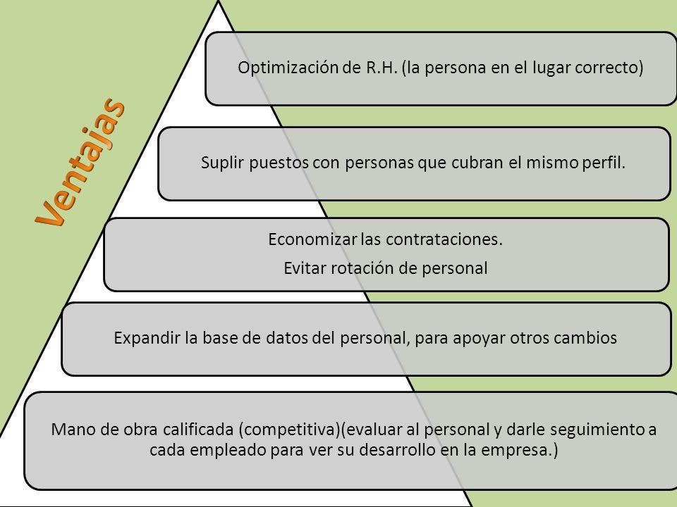 Optimización de R.H. (la persona en el lugar correcto)Suplir puestos con personas que cubran el mismo perfil. Economizar las contrataciones. Evitar ro