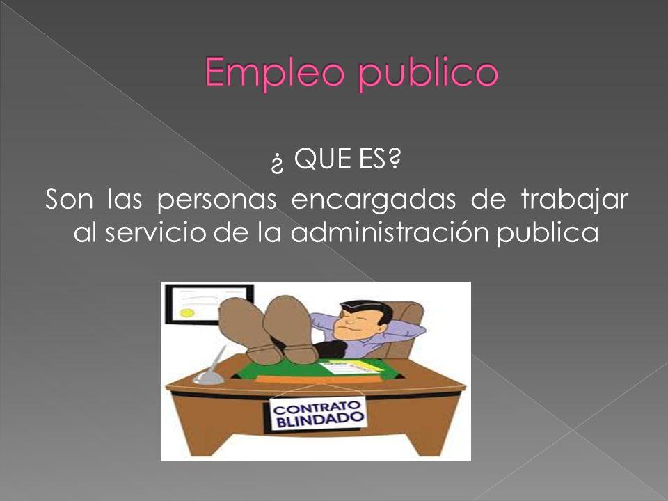 ¿ QUE ES? Son las personas encargadas de trabajar al servicio de la administración publica