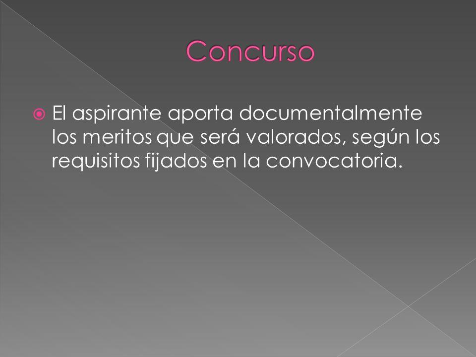 El aspirante aporta documentalmente los meritos que será valorados, según los requisitos fijados en la convocatoria.