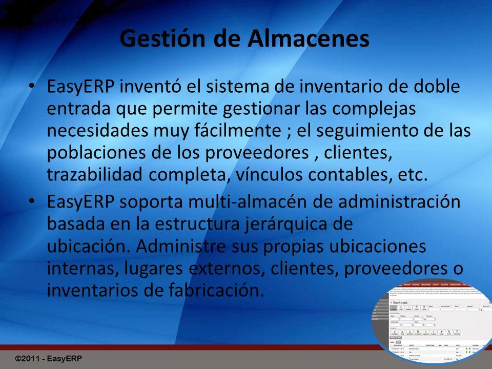 Gestión de Almacenes EasyERP inventó el sistema de inventario de doble entrada que permite gestionar las complejas necesidades muy fácilmente ; el seguimiento de las poblaciones de los proveedores, clientes, trazabilidad completa, vínculos contables, etc.