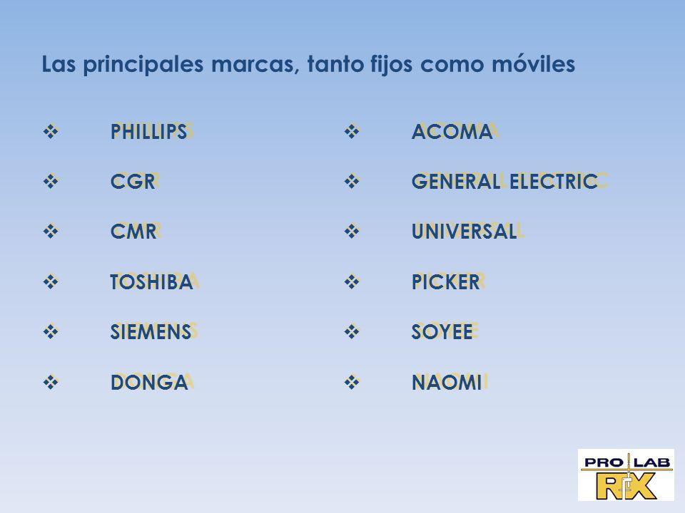 Las principales marcas, tanto fijos como móviles PHILLIPS PHILLIPS CGR CGR CMR CMR TOSHIBA TOSHIBA SIEMENS SIEMENS DONGA DONGA ACOMA ACOMA GENERAL ELE