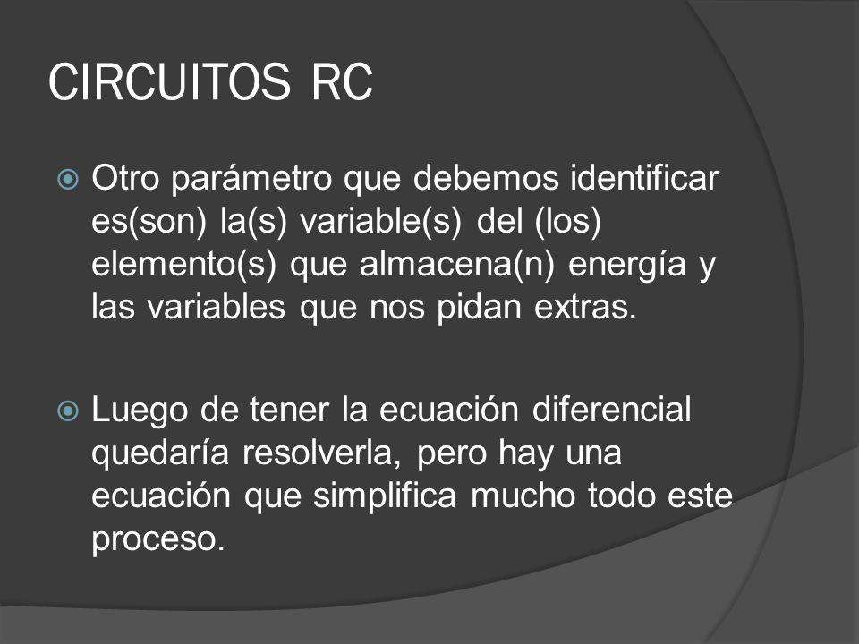 CIRCUITOS RC Otro parámetro que debemos identificar es(son) la(s) variable(s) del (los) elemento(s) que almacena(n) energía y las variables que nos pi