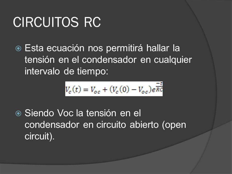 CIRCUITOS RC Esta ecuación nos permitirá hallar la tensión en el condensador en cualquier intervalo de tiempo: Siendo Voc la tensión en el condensador