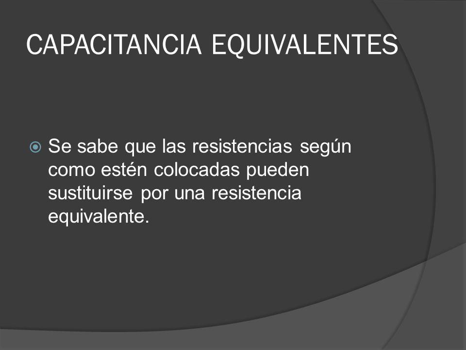 CAPACITANCIA EQUIVALENTES Se sabe que las resistencias según como estén colocadas pueden sustituirse por una resistencia equivalente.