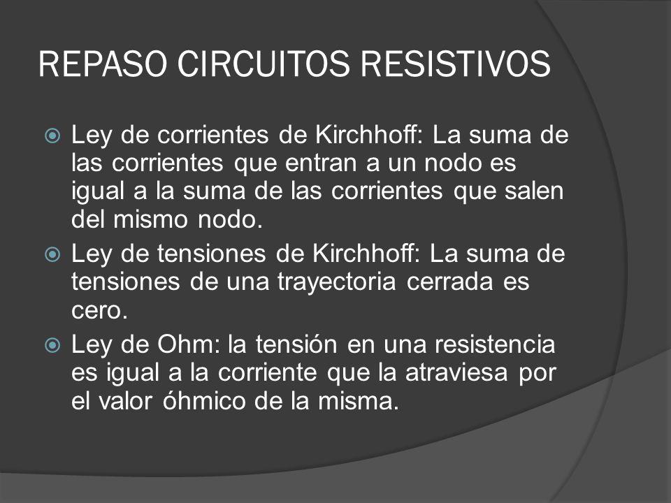 REPASO CIRCUITOS RESISTIVOS Ley de corrientes de Kirchhoff: La suma de las corrientes que entran a un nodo es igual a la suma de las corrientes que sa