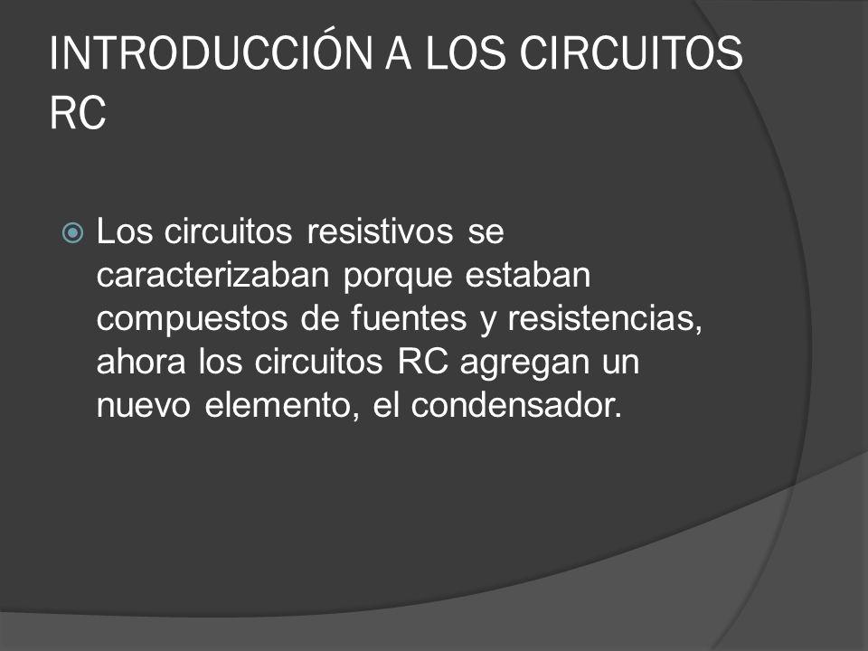 INTRODUCCIÓN A LOS CIRCUITOS RC Los circuitos resistivos se caracterizaban porque estaban compuestos de fuentes y resistencias, ahora los circuitos RC