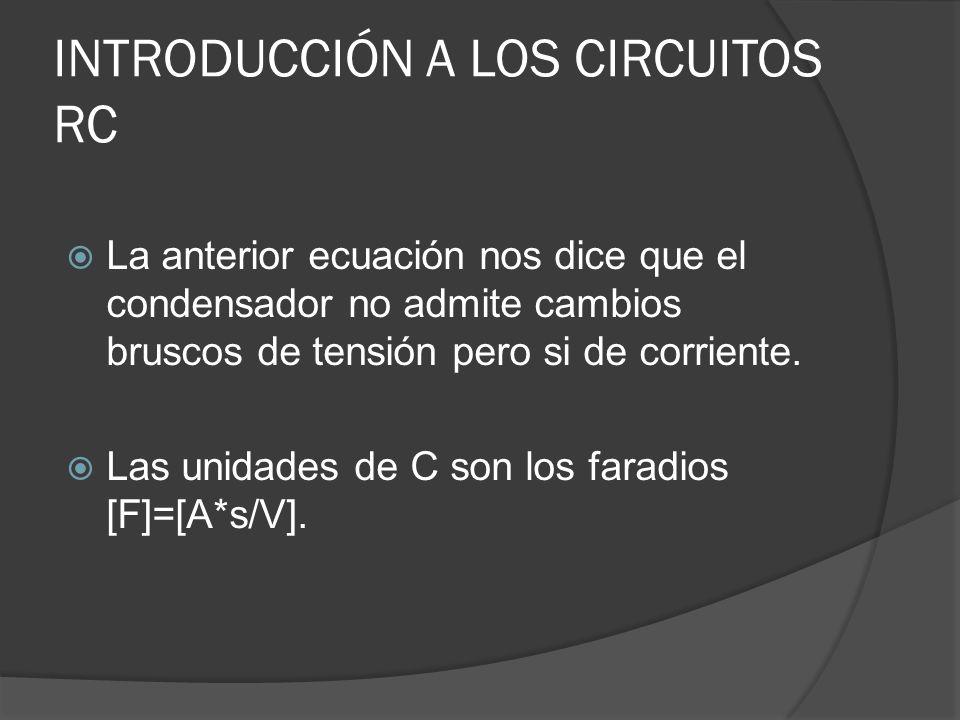 INTRODUCCIÓN A LOS CIRCUITOS RC La anterior ecuación nos dice que el condensador no admite cambios bruscos de tensión pero si de corriente. Las unidad