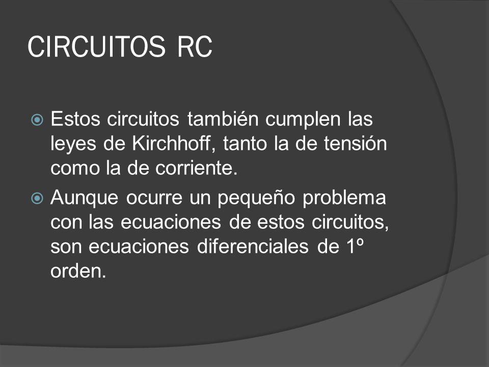 CIRCUITOS RC Estos circuitos también cumplen las leyes de Kirchhoff, tanto la de tensión como la de corriente. Aunque ocurre un pequeño problema con l