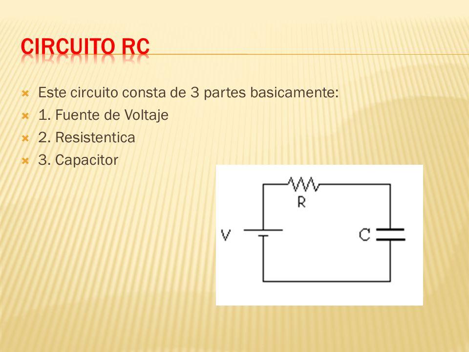 Este circuito consta de 3 partes basicamente: 1. Fuente de Voltaje 2. Resistentica 3. Capacitor