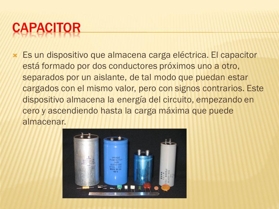 Es un dispositivo que almacena carga eléctrica.