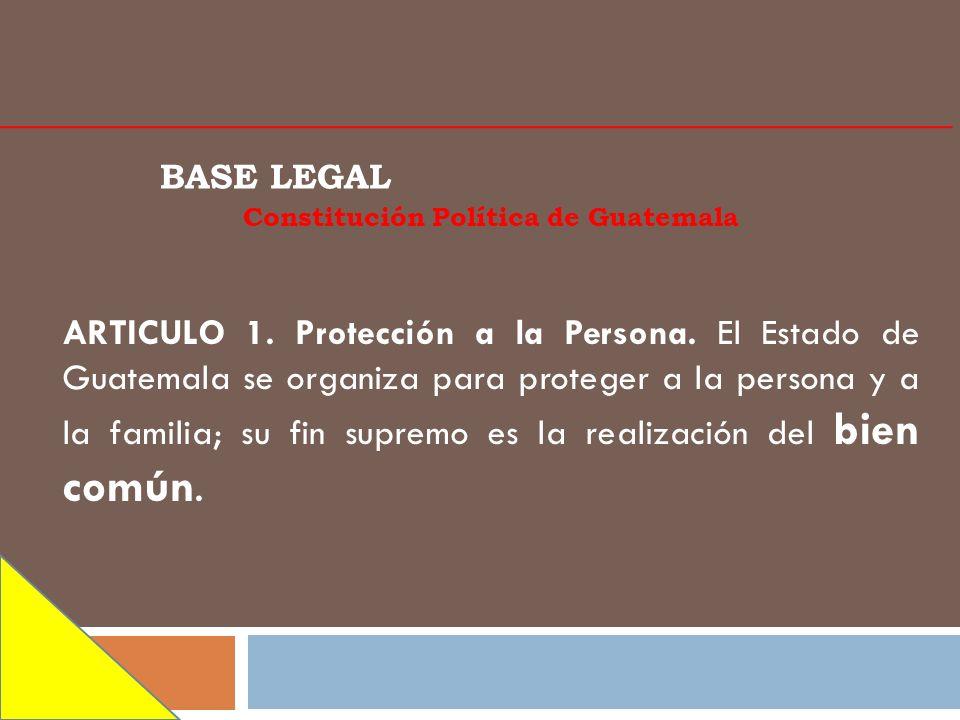 BASE LEGAL Constitución Política de Guatemala ARTICULO 1. Protección a la Persona. El Estado de Guatemala se organiza para proteger a la persona y a l