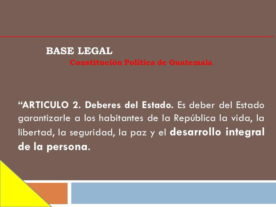 BASE LEGAL Constitución Política de Guatemala ARTICULO 2. Deberes del Estado. Es deber del Estado garantizarle a los habitantes de la República la vid