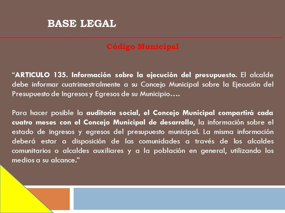 BASE LEGAL Código Municipal ARTICULO 135. Información sobre la ejecución del presupuesto. El alcalde debe informar cuatrimestralmente a su Concejo Mun