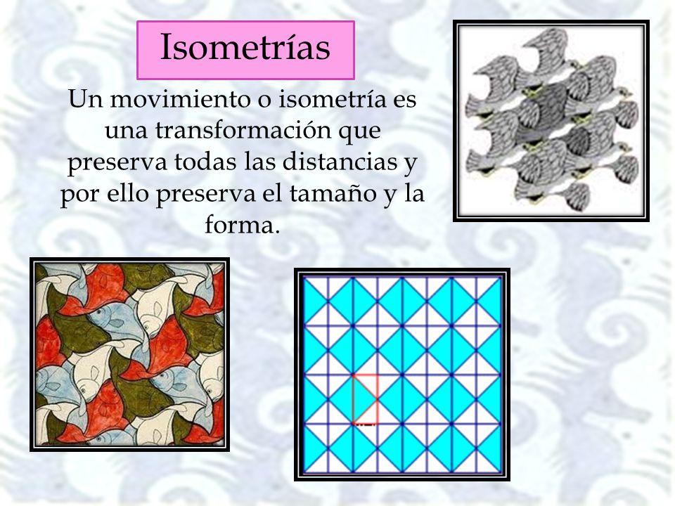 Un movimiento o isometría es una transformación que preserva todas las distancias y por ello preserva el tamaño y la forma. Isometrías