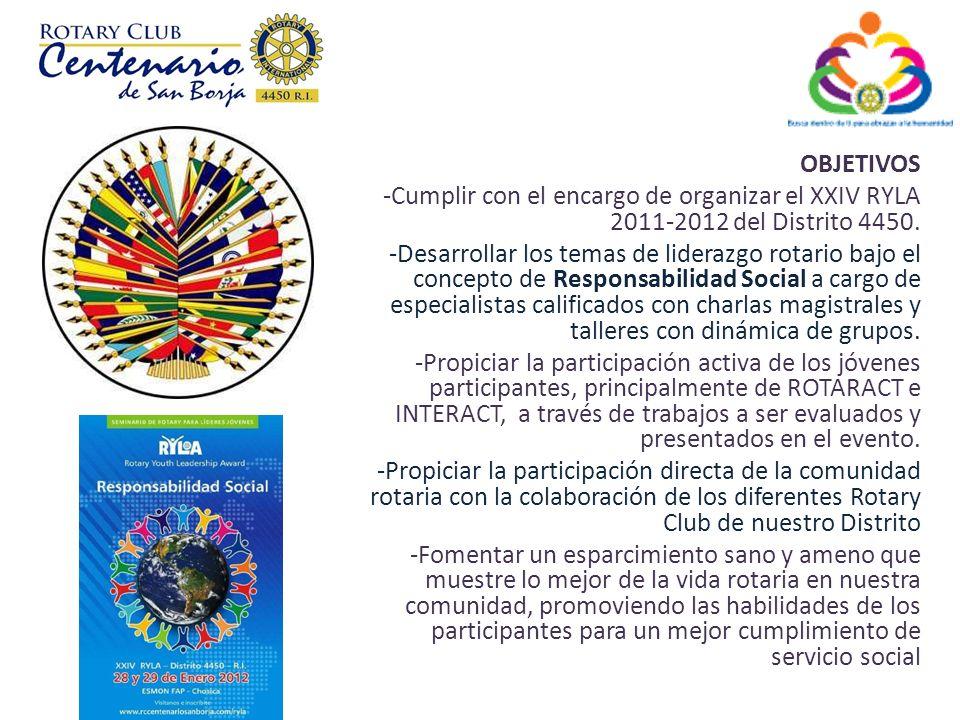 OBJETIVOS -Cumplir con el encargo de organizar el XXIV RYLA 2011-2012 del Distrito 4450.