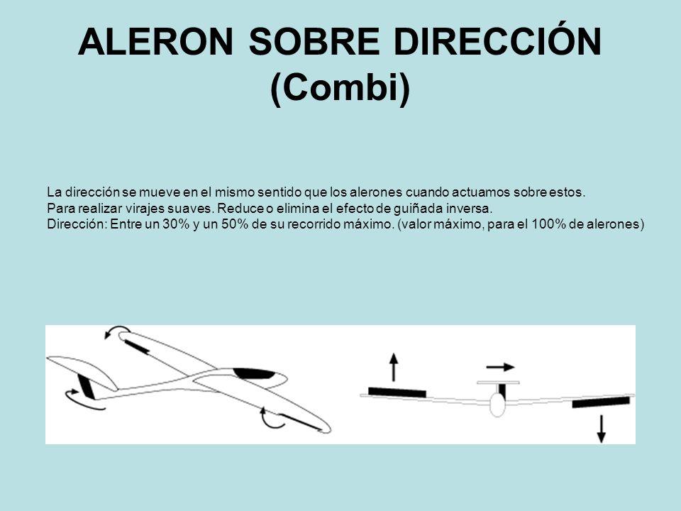 ALERON SOBRE DIRECCIÓN (Combi) La dirección se mueve en el mismo sentido que los alerones cuando actuamos sobre estos. Para realizar virajes suaves. R