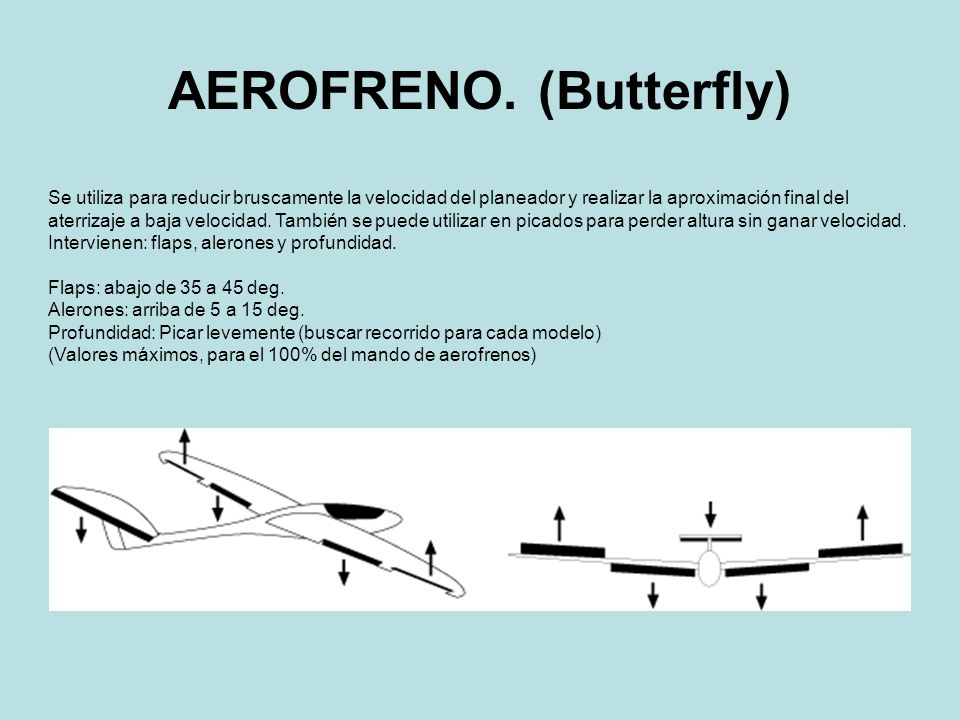 AEROFRENO. (Butterfly) Se utiliza para reducir bruscamente la velocidad del planeador y realizar la aproximación final del aterrizaje a baja velocidad
