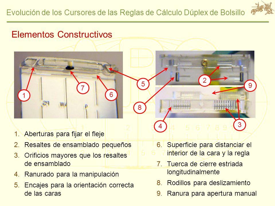 Evolución de los Cursores de las Reglas de Cálculo Dúplex de Bolsillo Elementos Constructivos 1.Aberturas para fijar el fleje 2.Resaltes de ensamblado