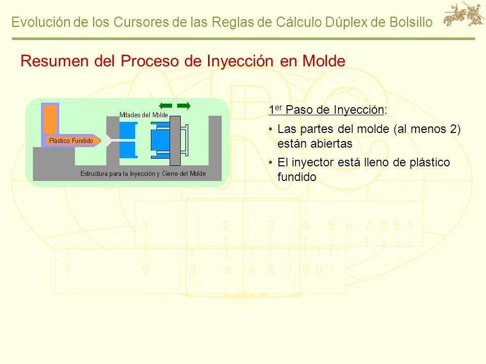 Evolución de los Cursores de las Reglas de Cálculo Dúplex de Bolsillo Resumen del Proceso de Inyección en Molde 1 er Paso de Inyección: Las partes del
