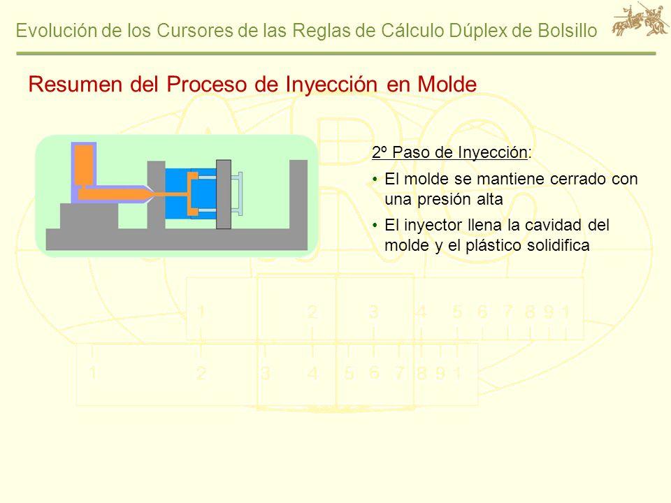 Evolución de los Cursores de las Reglas de Cálculo Dúplex de Bolsillo 2º Paso de Inyección: El molde se mantiene cerrado con una presión alta El inyec