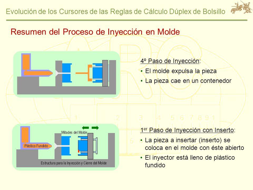 Evolución de los Cursores de las Reglas de Cálculo Dúplex de Bolsillo 4º Paso de Inyección: El molde expulsa la pieza La pieza cae en un contenedor 1