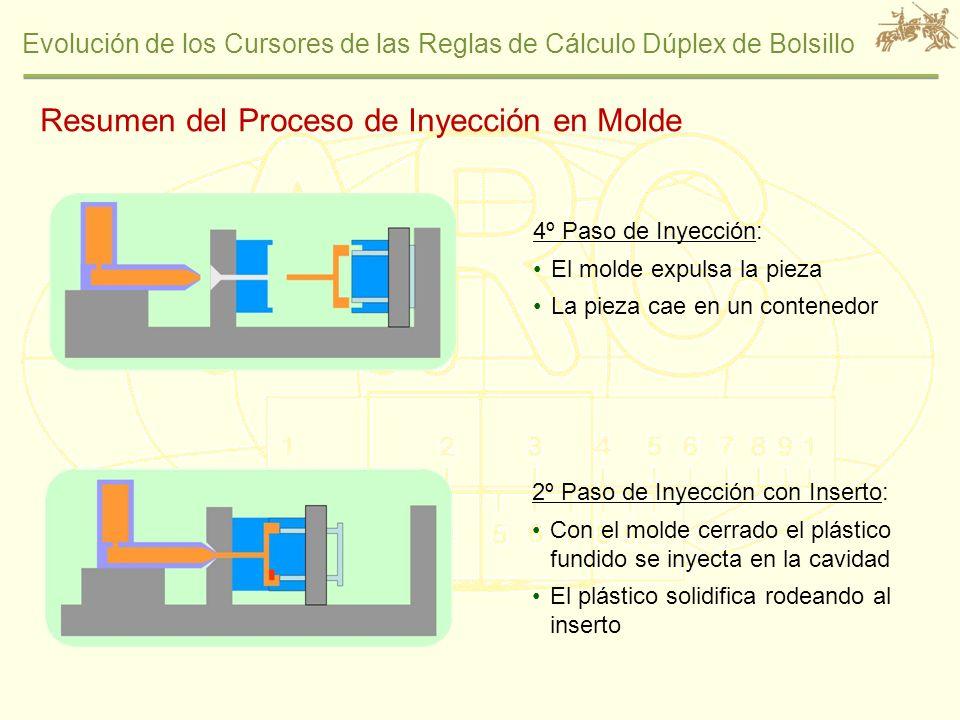 Evolución de los Cursores de las Reglas de Cálculo Dúplex de Bolsillo 2º Paso de Inyección con Inserto: Con el molde cerrado el plástico fundido se in