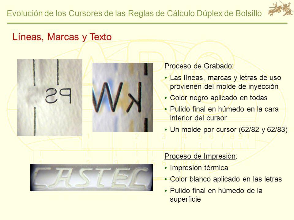 Evolución de los Cursores de las Reglas de Cálculo Dúplex de Bolsillo Líneas, Marcas y Texto Proceso de Grabado: Las líneas, marcas y letras de uso pr