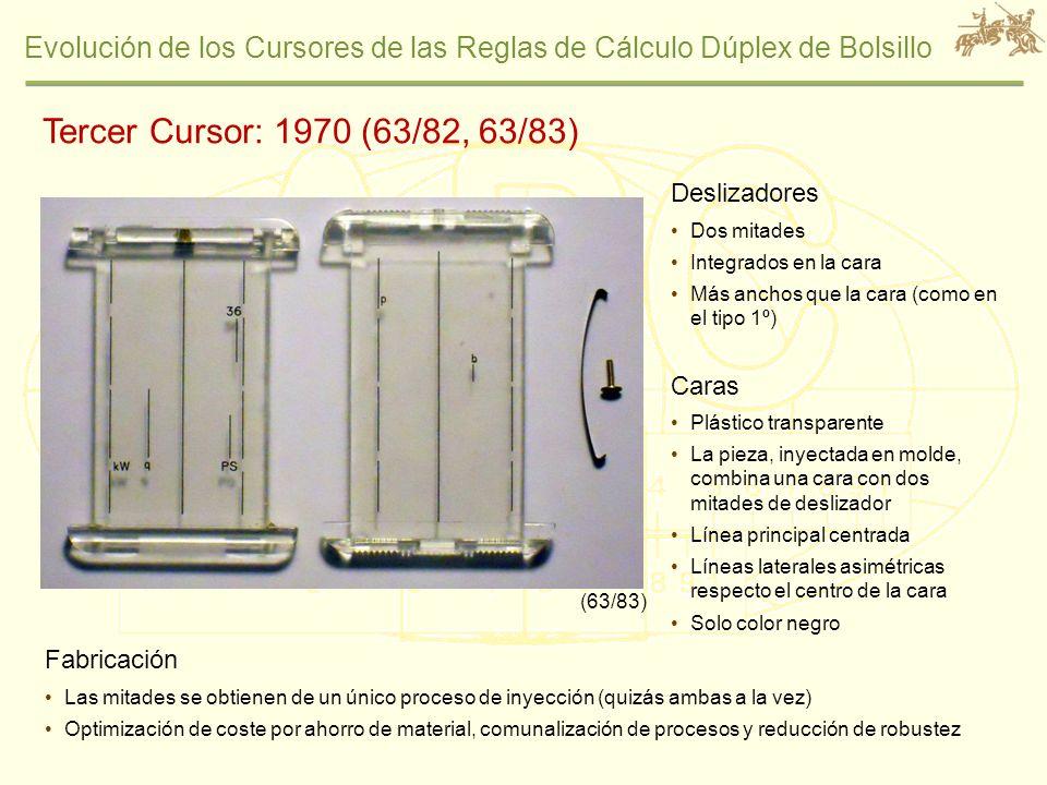 Evolución de los Cursores de las Reglas de Cálculo Dúplex de Bolsillo Tercer Cursor: 1970 (63/82, 63/83) Deslizadores Dos mitades Integrados en la car