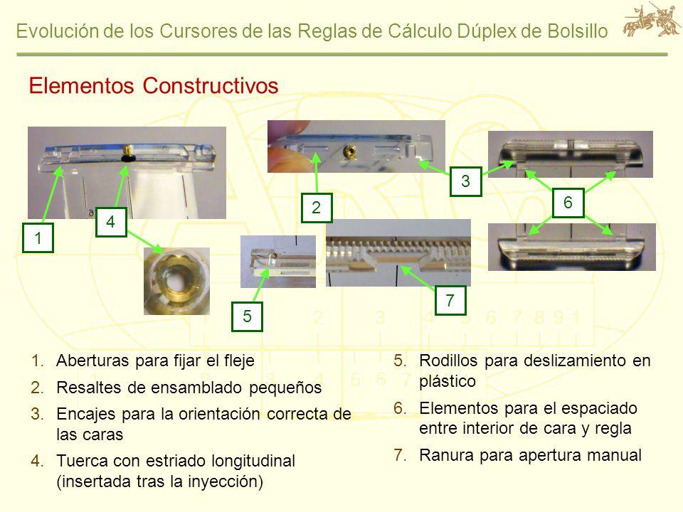 Evolución de los Cursores de las Reglas de Cálculo Dúplex de Bolsillo 1.Aberturas para fijar el fleje 2.Resaltes de ensamblado pequeños 3.Encajes para