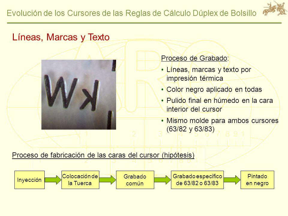 Evolución de los Cursores de las Reglas de Cálculo Dúplex de Bolsillo Proceso de Grabado: Líneas, marcas y texto por impresión térmica Color negro apl