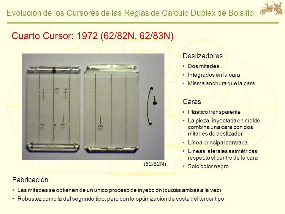 Evolución de los Cursores de las Reglas de Cálculo Dúplex de Bolsillo Cuarto Cursor: 1972 (62/82N, 62/83N) Deslizadores Dos mitades Integrados en la c