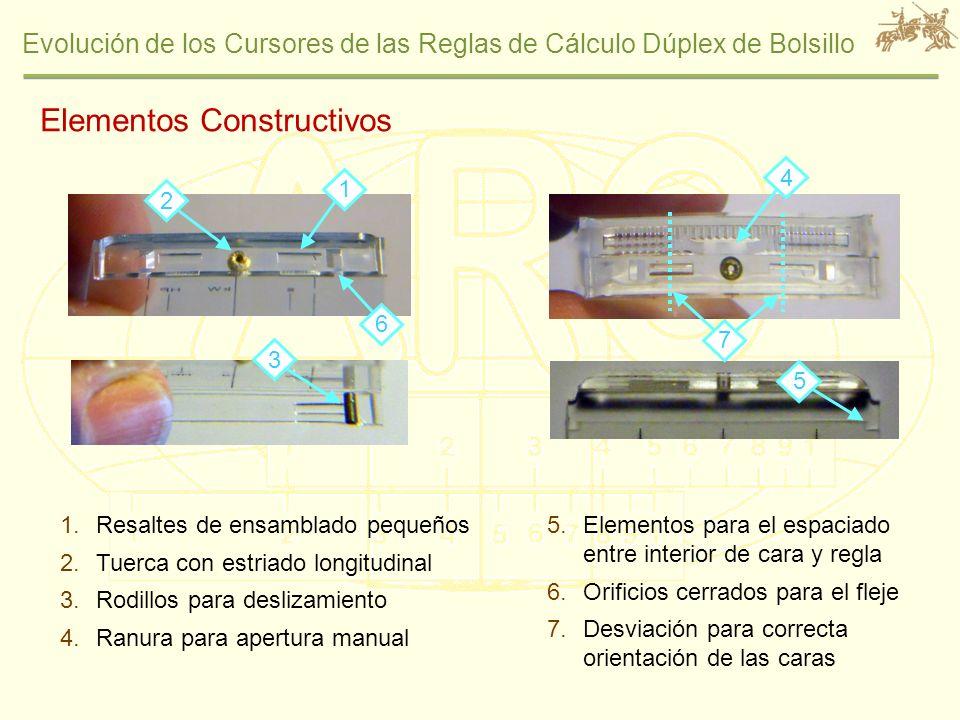 Evolución de los Cursores de las Reglas de Cálculo Dúplex de Bolsillo 1.Resaltes de ensamblado pequeños 2.Tuerca con estriado longitudinal 3.Rodillos