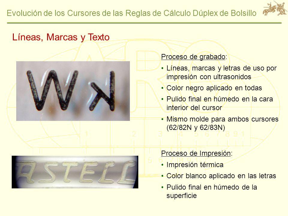 Evolución de los Cursores de las Reglas de Cálculo Dúplex de Bolsillo Proceso de grabado: Líneas, marcas y letras de uso por impresión con ultrasonido