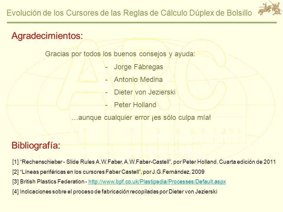 Evolución de los Cursores de las Reglas de Cálculo Dúplex de Bolsillo Agradecimientos: Gracias por todos los buenos consejos y ayuda: -Jorge Fábregas