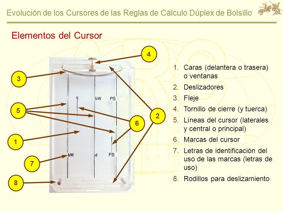 Evolución de los Cursores de las Reglas de Cálculo Dúplex de Bolsillo 1.Resaltes de ensamblado pequeños 2.Tuerca con estriado longitudinal 3.Rodillos para deslizamiento 4.Ranura para apertura manual 53 5.Elementos para el espaciado entre interior de cara y regla 6.Orificios cerrados para el fleje 7.Desviación para correcta orientación de las caras 1 2 6 4 7 Elementos Constructivos