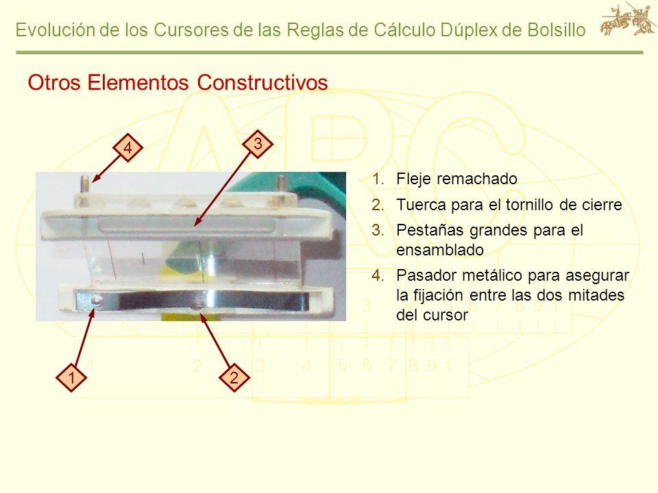 Evolución de los Cursores de las Reglas de Cálculo Dúplex de Bolsillo Otros Elementos Constructivos 1.Fleje remachado 2.Tuerca para el tornillo de cie