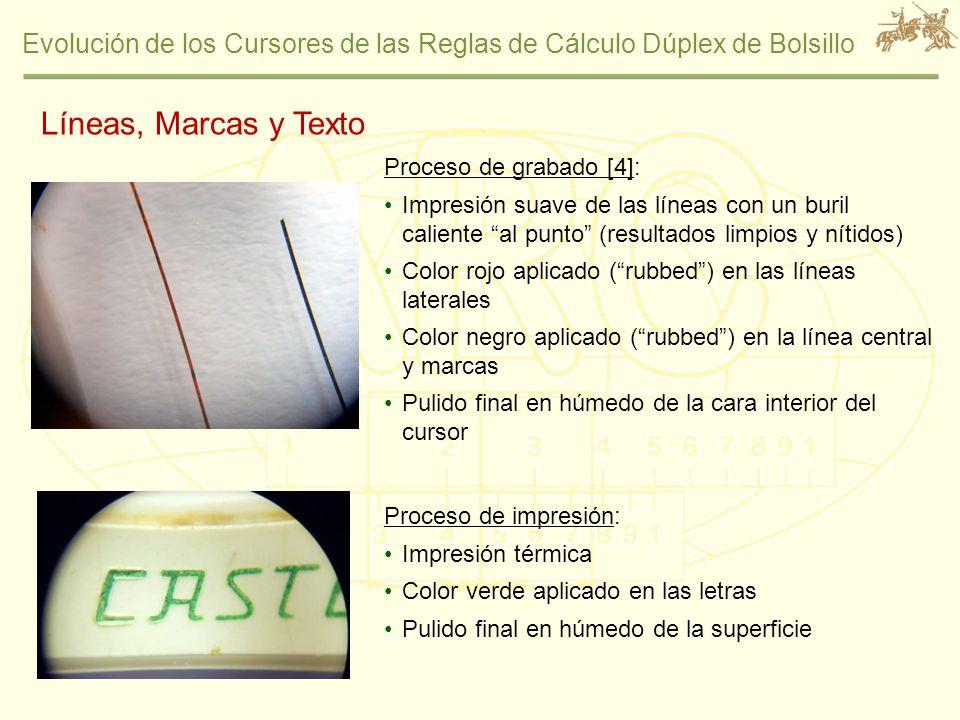 Evolución de los Cursores de las Reglas de Cálculo Dúplex de Bolsillo Líneas, Marcas y Texto Proceso de grabado [4]: Impresión suave de las líneas con