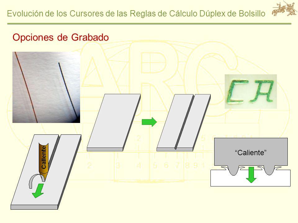 Evolución de los Cursores de las Reglas de Cálculo Dúplex de Bolsillo Opciones de Grabado Caliente