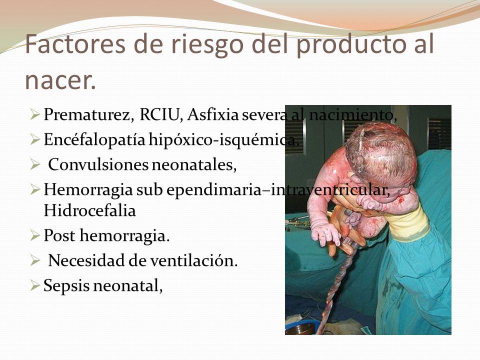 Factores de riesgo del producto al nacer. Prematurez, RCIU, Asfixia severa al nacimiento, Encéfalopatía hipóxico-isquémica. Convulsiones neonatales, H