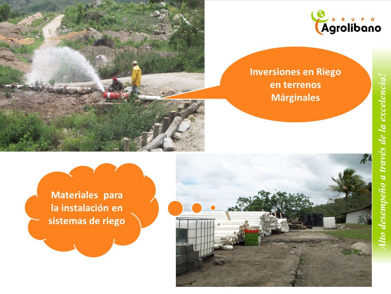 Inversiones en Riego en terrenos Márginales Materiales para la instalación en sistemas de riego