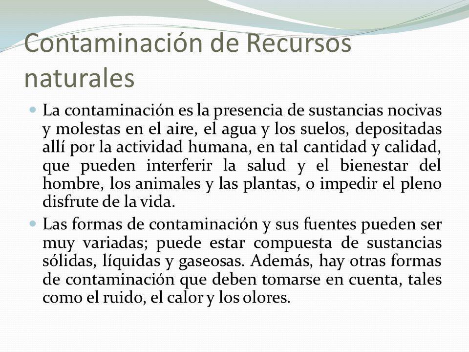 Formas de contaminación SólidosLíquidosGaseososRuidoOlorCalor
