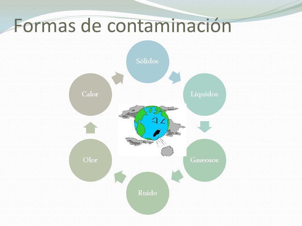 Principales fuentes de contaminación Emanaciones Industriales En forma de humo o polvo, las cuales son lanzadas a la atmósfera y contaminan el aire.