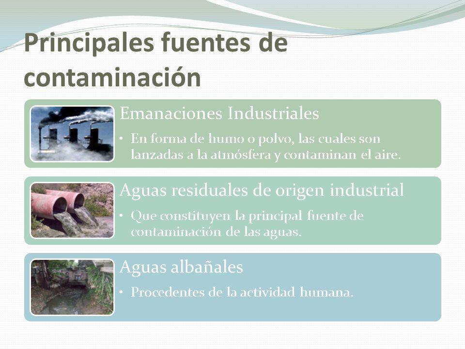 Principales fuentes de contaminación Productos químicos procedentes de actividad agropecuaria Los cuales son arrastrados por las aguas; entre ellos, plaguicidas, fertilizantes, desechos de animales, etc.