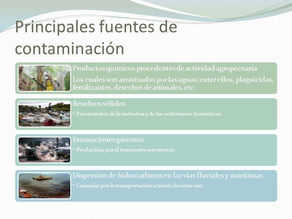 Principales fuentes de contaminación Productos químicos procedentes de actividad agropecuaria Los cuales son arrastrados por las aguas; entre ellos, p