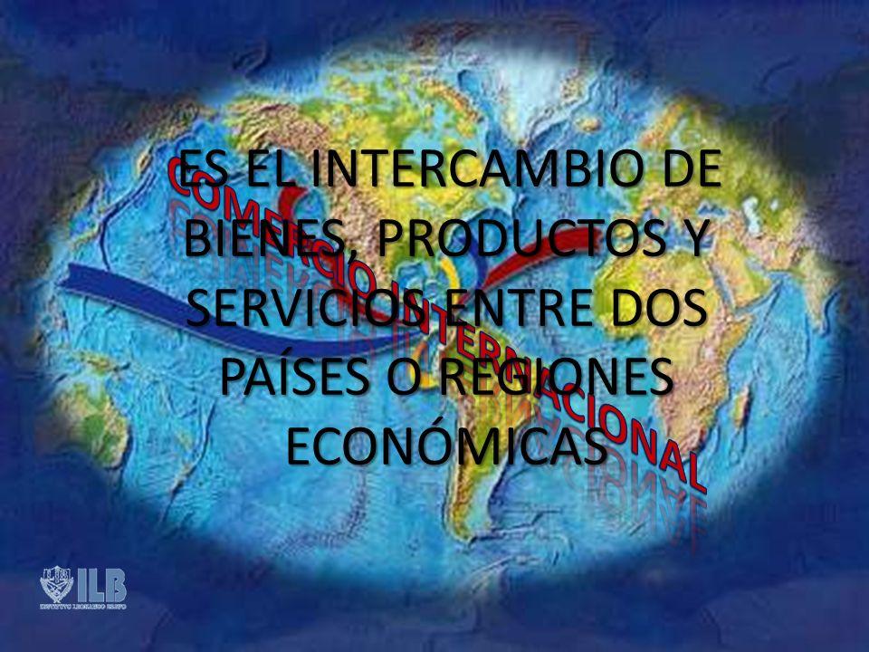 ES EL INTERCAMBIO DE BIENES, PRODUCTOS Y SERVICIOS ENTRE DOS PAÍSES O REGIONES ECONÓMICAS ES EL INTERCAMBIO DE BIENES, PRODUCTOS Y SERVICIOS ENTRE DOS PAÍSES O REGIONES ECONÓMICAS