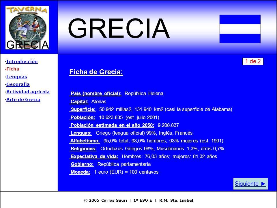 © 2005 Carlos Sauri | 1º ESO E | R.M. Sta. Isabel GRECIA ·IntroducciónIntroducción ·Ficha ·LenguasLenguas ·GeografíaGeografía ·Actividad agrícolaActiv