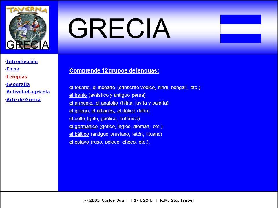 © 2005 Carlos Sauri | 1º ESO E | R.M. Sta. Isabel GRECIA ·IntroducciónIntroducción ·FichaFicha ·Lenguas ·GeografíaGeografía ·Actividad agrícolaActivid