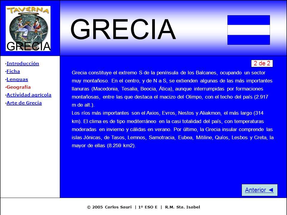 © 2005 Carlos Sauri | 1º ESO E | R.M. Sta. Isabel GRECIA ·IntroducciónIntroducción ·FichaFicha ·LenguasLenguas ·Geografía ·Actividad agrícolaActividad