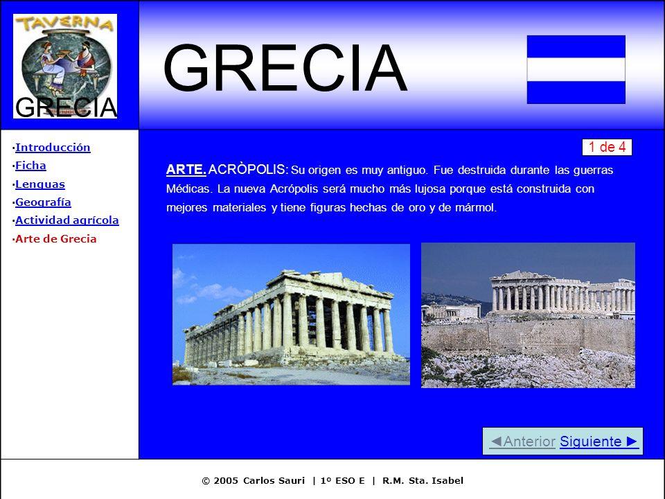 © 2005 Carlos Sauri | 1º ESO E | R.M. Sta. Isabel GRECIA ·IntroducciónIntroducción ·FichaFicha ·LenguasLenguas ·GeografíaGeografía ·Actividad agrícola